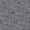 Tissu toile aspect lin motifs fleurs roses fond bleu - Oeko tex