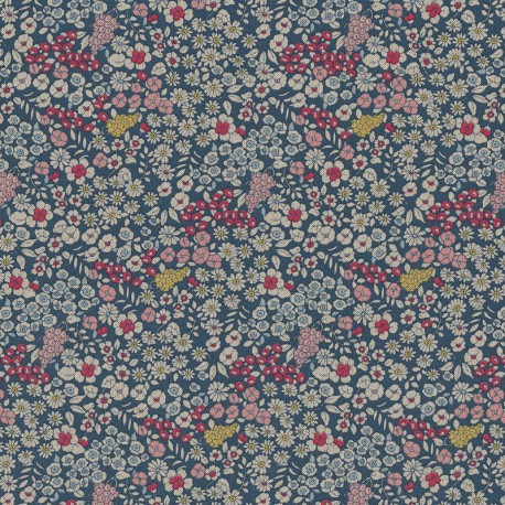 Tissu toile aspect lin motifs fleurs sur tiges roses fond bleu - Oeko tex