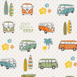 Tissu toile motifs Vans et combis orange et vert Volkswagen - Oeko tex