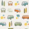 Tissu toile aspect lin motifs Vans et combis orange et vert Volkswagen - Oeko tex
