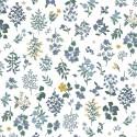 Tissu coton imprimé fleurs marine fond Blanc Cotton and Steel - Rifle Paper - Strawberry Fields