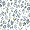 Tissu coton imprimé fleurs marine fond Blanc Cotton and Steel - Rifle Paper - Strawberry Fields