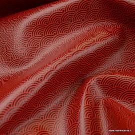 Tissu Simili cuir motifs écailles rouges fond Noir