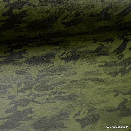 Tissu Simili cuir ameublement rigide Camouflage