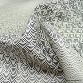 Tissu Simili cuir motifs écailles blanches fond Marine