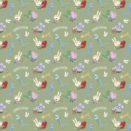 Tissu Peppa Pig fond vert - oeko tex