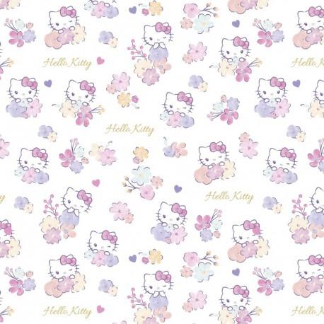 Tissu Hello Kitty et fleurs - oeko tex