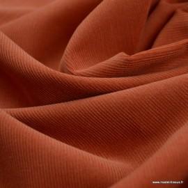 Tissu velours côtelé milleraies Terracotta