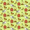 Tissu jersey Oeko tex motifs animaux de le ferme fond vert