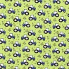 Tissu jersey Oeko tex motifs tracteurs fond vert