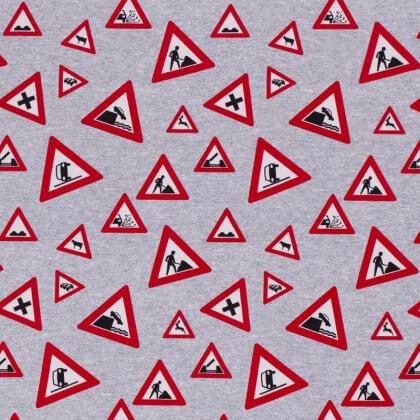 Tissu jersey French terry motifs panneaux de chantier fond gris - Oeko tex