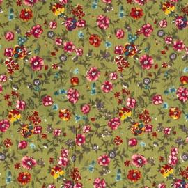 Tissu crêpe viscose fluide imprimé rayures Lurex et fleurs fond vert