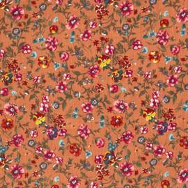 Tissu crêpe viscose fluide imprimé rayures Lurex et fleurs fond Terracotta