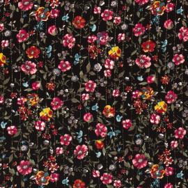 Tissu crêpe viscose fluide imprimé rayures Lurex et fleurs fond Noir