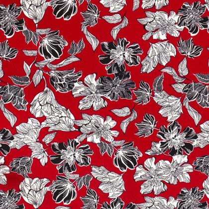 Tissu crêpe élasthanne motifs fleurs fond rouge