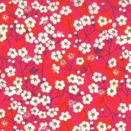 Tissu Liberty Mitsi à fleurs Rose Hibiscus  - Oeko tex