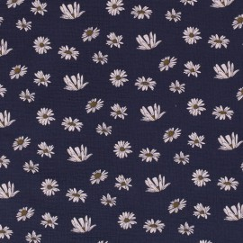 Tissu double gaze de coton motifs Pâquerettes fond Marine - Oeko tex