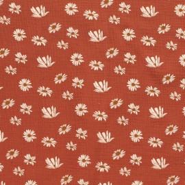 Tissu double gaze de coton motifs Pâquerettes fond Moutarde - Oeko tex