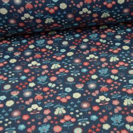 Popeline motifs fleurs Akiko rose et bleu fond marine  - Oeko tex