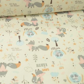 Popeline motifs renards gris et arbres fond écru - Oeko tex