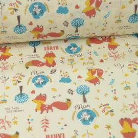 Popeline motifs renards roux, ocre et bleu fond écru - Oeko tex