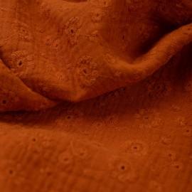 Tissu Double gaze brodée Suzy coloris Rouille - oeko tex