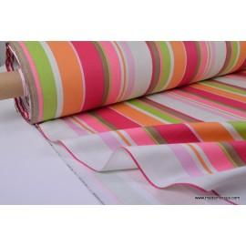 Tissu Demi natté coton rayures multi-couleurs fuchsia anis grande largeur . x 1m