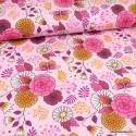 Tissu jersey French terry Bio motifs fleurs fond rose