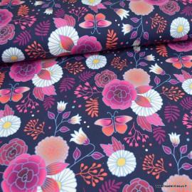 Tissu jersey French terry Bio motifs fleurs fond Marine