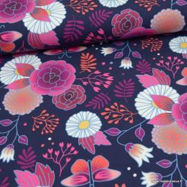 Jersey de coton Bio motifs fleurs fond Marine - GOTS
