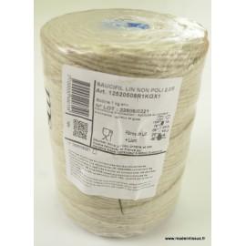 Bobine ficelle contact alimentaire 2.7mm en lin ECRU 5 bouts, 1kg
