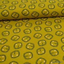 Jersey de coton Bio motifs Lions fond Moutarde - GOTS