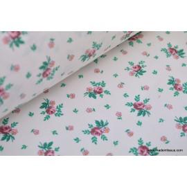 Tissu coton petites fleurs fuchsia . x1m