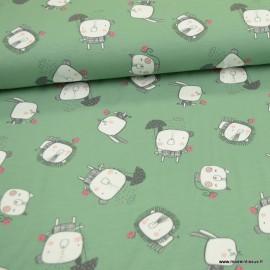 Tissu jersey BIO motifs animaux fond vert - GOTS