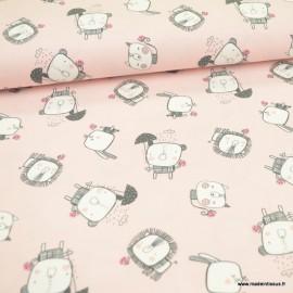 Tissu jersey BIO motifs animaux fond rose - GOTS