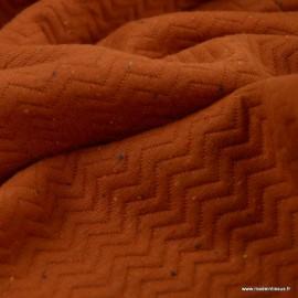 Tissu Jersey coton matelassé motifs chevrons Terracotta - oeko tex