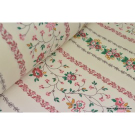 Tissu coton liberty rayures de fleurs fuchsia . x1m