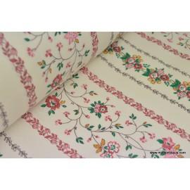 Tissu coton liberty rayures de fleurs fuchsia