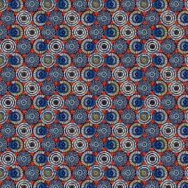Tissu coton Soweto motifs ronds wax fond Rouge - oeko tex