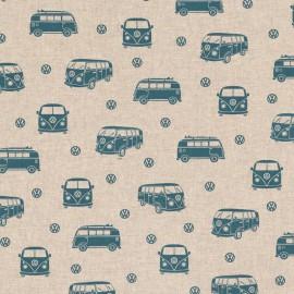 Tissu toile aspect lin motifs Vans et combis bleus Volkswagen - Oeko tex