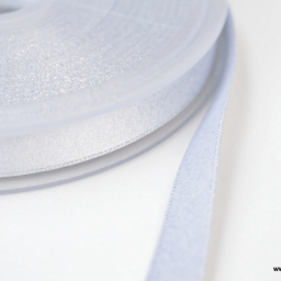 Ruban SATIN LUREX ARGENT - TRAME BLANC, 10 mm, au mètre