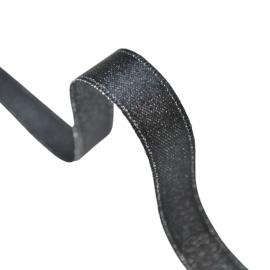 Ruban SATIN LUREX ARGENT - TRAME NOIR, 10 mm, .