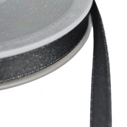 Ruban SATIN LUREX ARGENT - TRAME NOIR, 10 mm, au mètre