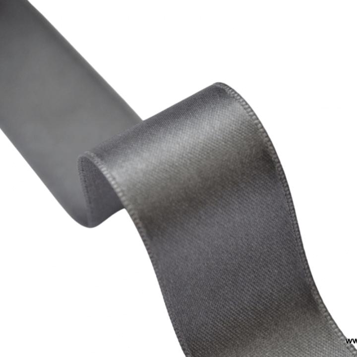 Ruban SATIN double face GRIS ANTHRACITE , 25 mm, au mètre