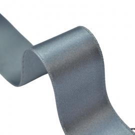 Ruban SATIN double face gris , 25 mm, .