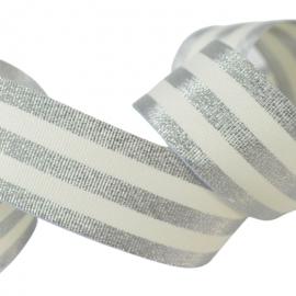 Galon Rayures Lurex Argent et Ecru 30 mm