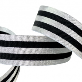 Galon Rayures Lurex Argent et Noir 30 mm