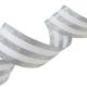 Galon Rayures Lurex Argent et blanc 30 mm