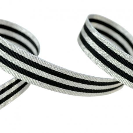 Galon Rayures Lurex Argent et Noir 15 mm