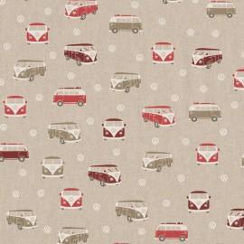 Tissu toile aspect lin motifs Vans et combis rouge Volkswagen - Oeko tex